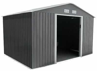 Metal Garden Shed 10x10 Outdoor Storage with Free Foundation 10ft x 10ft GREY