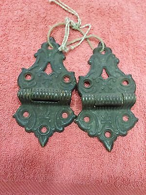 Vintage Brass or Bronze 7/16 Raised Relief Hinge Stamped 358 and 7/16