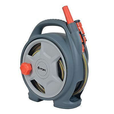 Pope SMALL GARDEN HOSE REEL 8mmx10m HOSE + Connectors, Wall Mounted - AUST Brand