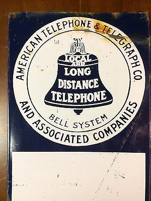 Vintage American Telephone & Telegraph Porcelain Sign Bell System Salvaged 18x8""