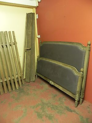A French Padded Back Louis Xvi Style Queen Size Bedstead With Rails/slats