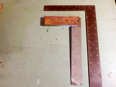 "Antique Try Square Tools  10"" Sands And 7"" Brass Trim"