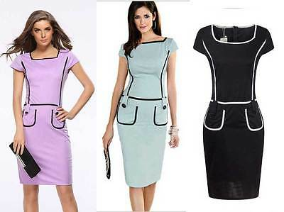 Lady Bodycon Pocket Dress Midi Business Office Pencil Cocktail Formal Celeb 8-18