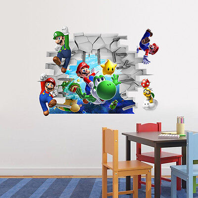 3D Removable Super Mario Wall Sticker Art Decals Nursery Kids Bedroom Decoration