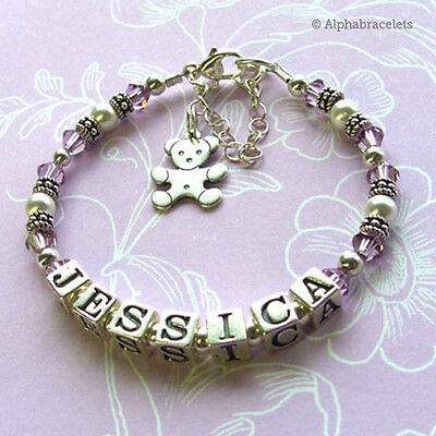 Baby Girls Name Bracelet - First Birthday, Christening, Keepsake, Gift