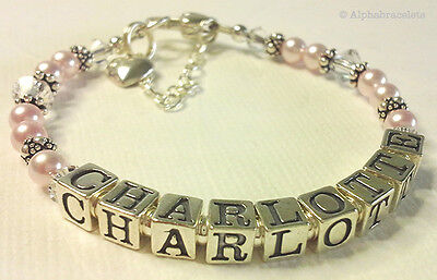 Baby Girls Personalised Name Bracelet - Christening, Baptism, Newborn, Gift