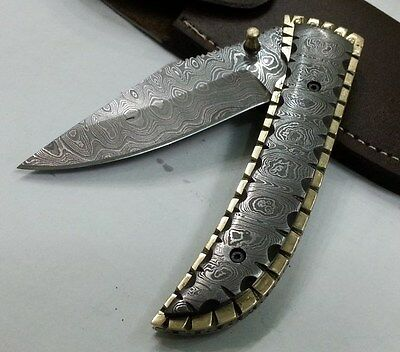 "Custom made ""Knife king's Mithril"" Vintage Damascus Folding Knife with sheath"
