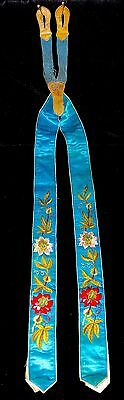 Antique Victorian Wedding Embroidered Blue Teal Silk Leather Braces Suspenders