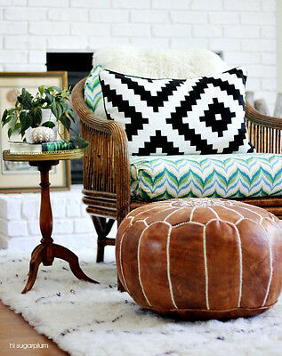 New, Stunning Moroccan Leather Ottoman Pouffe Pouf Footstool In Antique Brown