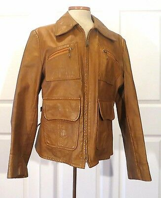 Vintage 60s Leather Jacket Big Zipper sz 42 Side Buckles