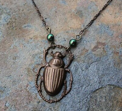 Egyptian Scarab Beetle Antiqued Brass Necklace -iridescent green faux pearls
