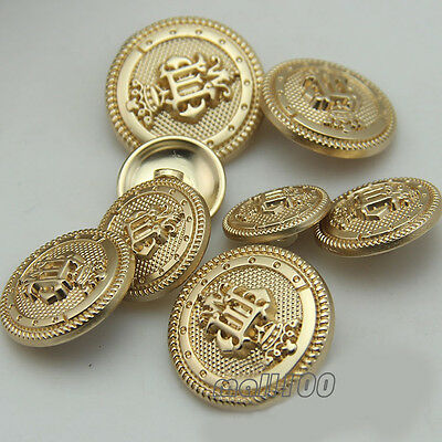 12 PCS Gold Crown Shank Button Metal Sewing Embellishment For Suit Coat