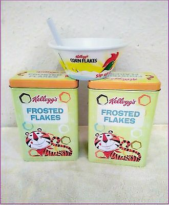 Collectable!! KELLOGG'S CEREAL Storage TINS + CORN FLAKES BOWL with Straw