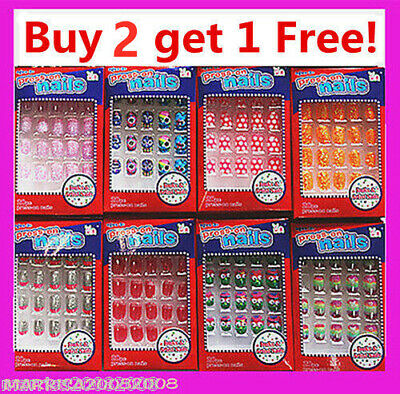 20/24 PC  Girls Acrylic False Fake Nail Tips with Press-on Glue Buy 2 Get 1 Free