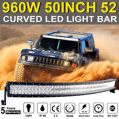 """50inch 672W Curved LED Light Bar 5D Flood Spot Offroad SUV UTE 4x4WD Truck 52"""" A"""