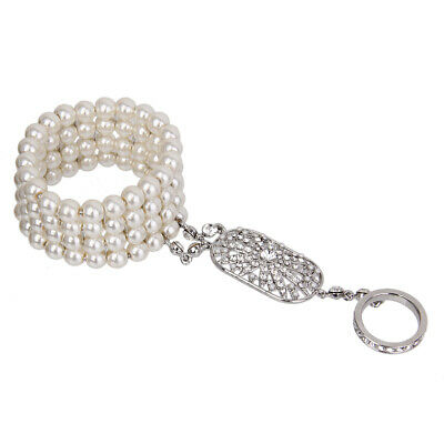 1920's Great Gatsby Crystal Pearl Hand Chain Slave Bracelet Ring Jewelry