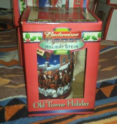 BUDWEISER CLYDESDALES HOLIDAY STEIN 2003 BEER MUG NEW Old Towne Holiday