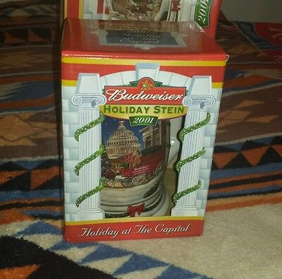 BUDWEISER CLYDESDALES HOLIDAY STEIN 2001 BEER MUG NEW Holiday at the Capitol