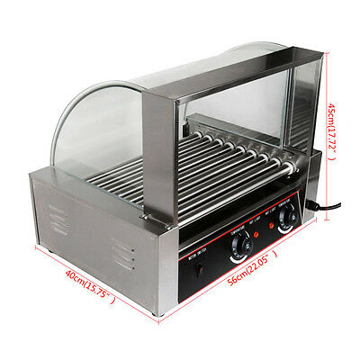 24 hotdogs 1800W Hot Dog Roller 9 Roller Machine With Stainless Steel Drip Tray