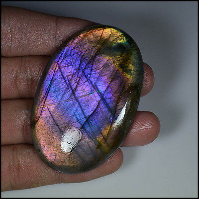 157Cts NATURAL HUGE PURPLE MULTI FIRE LABRADORITE OVAL CABOCHON GEMSTONE AB26-04