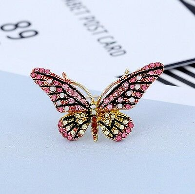 Fashion  Butterfly Brooches Crystal Rhinestone Women Pins Jewelry