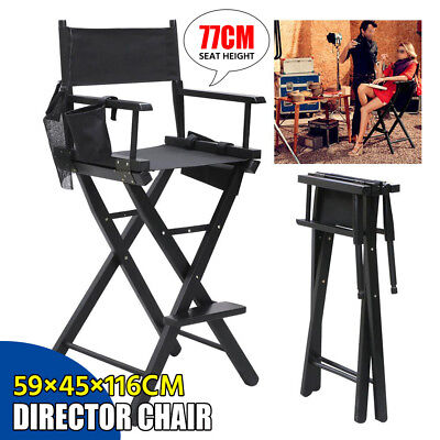 Professional Makeup Artist Tall Director Chair Wood Folding W/Side Camp& Fishing
