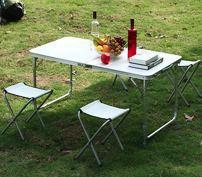 Outdoor Camping Picnic Adjustable Folding Table w/4 Chairs Portable Dining Party