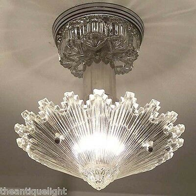790 Vintage arT Deco Ceiling Light Lamp Fixture Glass Re-Wired STARBURST