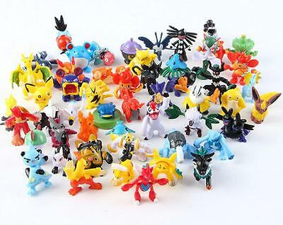 48 Pcs Mixed Lots Mini Cute Pokemon Pikachu Monster Pearl Figure Toy Gift Random