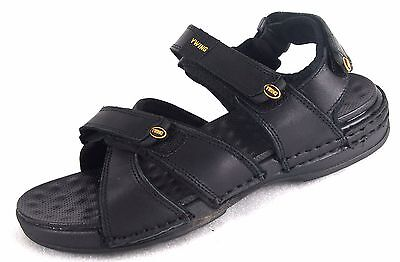 YWing LS1330 Men's Leather Lightweight Comfortable Sandals Black---Special