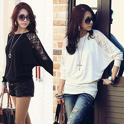 UK 8-10 Sexy Womens Ladies Batwing Lace Long Sleeve Loose T-Shirt Blouse Top