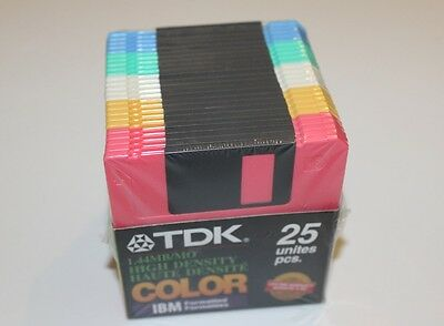 Tdk 1.44 Mb/mo High Density Ibm Formatted 24 Rcolor Diskettes Pc Brand New