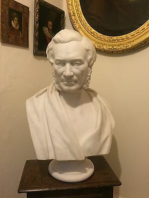 Antique 19th Century Life Size Solid Marble Portrait Bust Of A Man