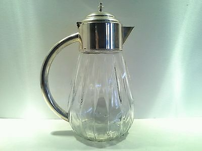 Vintage Silver Plate and Crystal/Glass Fluted Coffee Pot, some wear