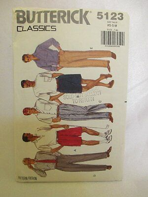Butterick Sewing Pattern #5123 size XS-S-M Men's SHORTS& TAPERED PANTS