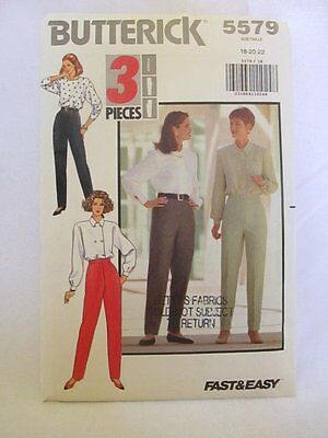 Butterick Sewing Pattern #5579 Size 18-20-22 Misses Petite Tapered Pants 1991