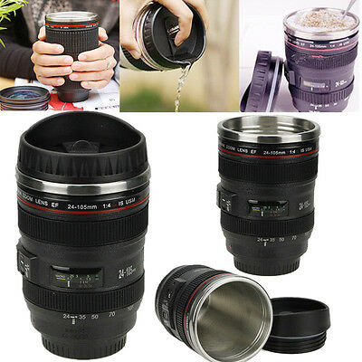 24-105mm Stainless Lens Thermos Camera Travel Coffee Tea Mug Cup 400ML 2016