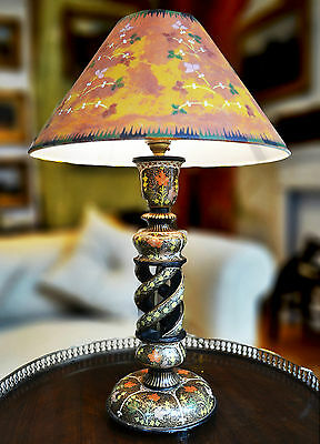 Antique vintage Indian Kashmir lacquer lamp painted shade Aesthetic Movement