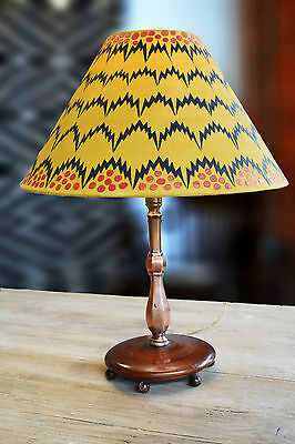 Antique vintage Edwardian Pullman lamp painted geometric lampshade Andrew Martin