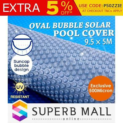500 Micron Solar Swimming Pool Cover Oval Bubble Blanket Blue/Silver 9.5M x 5M