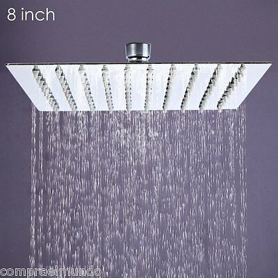 Ultra-thin Square Stainless Steel Rainfall Shower Head Top Shower 8 inch