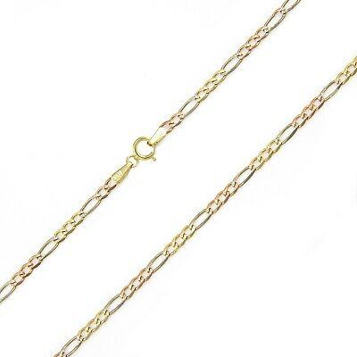 "10K Solid Yellow White Rose Gold Figaro Necklace Chain 2.3mm 16-24"" - Link Women"