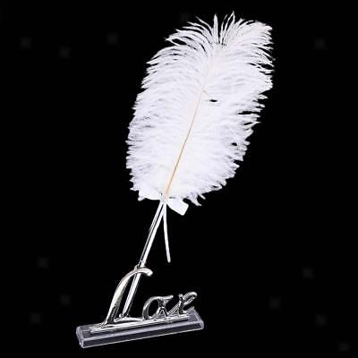 Wedding Party White Feather Quill Guest Book Signing Pen Silver Love Holder