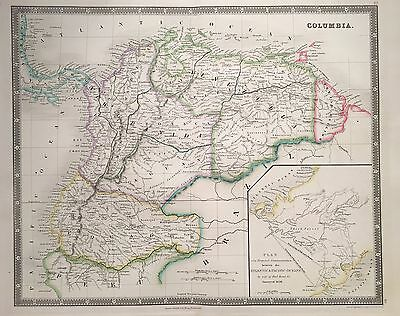 1843 Colombia, Venezuela, Panama By Teesdale Hand Coloured Antique Map