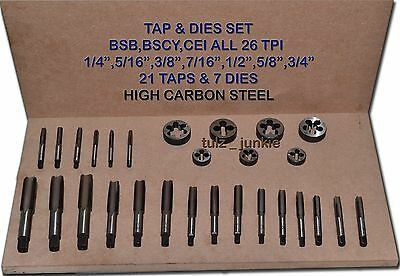 "Tap Die Set Bsb Bscy Cycle 26 Tpi Thread 1/4"", 5/16"", 3/8"", 7/16"", 1/2"",5/8"",3/4"