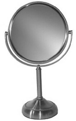 Magnifying Makeup Mirror New Vanity Style  Lovely Beaded Edging, 10x  Nickel