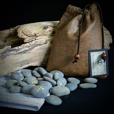 25 RIVER RUNE STONES & BAG Wicca Pagan Witchcraft Runes Pentacle Divination