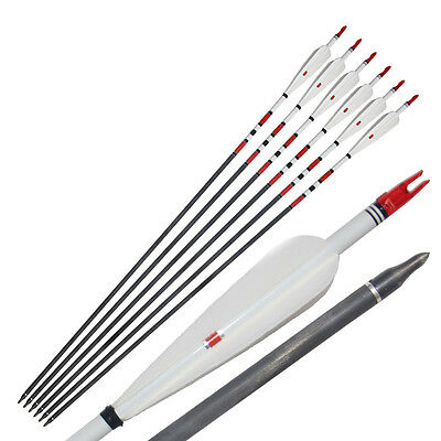 6Pcs 33'' Mixed Carbon Arrows 4 Real Turkey Feather Longbow Archery Hunting