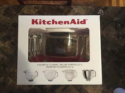 KitchenAid K5GB 5 Qt. Tilt Head Glass Mixing Bowl W/ Measurement Markings & Lid