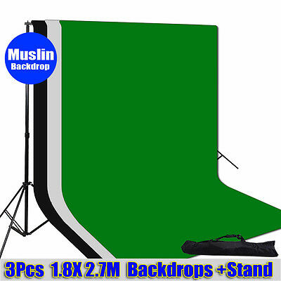 Photo Studio Bag Black White Green Muslin Backdrop Background Support Stand Kit